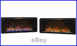 Black Electric Fireplace Wall Mount Large 50 Heater Screen Color Changing Flame
