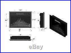 Black Electric Heater Fireplace 23 1500W Insert Glowing Fan Freestanding Glass
