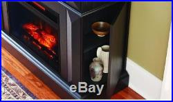 Black Mantel Console Infrared Electric Fireplace Room Heater TV Stand Storage