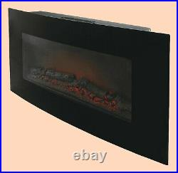 Blyss Dovhy Curved Glass Front Panel Black 1.8Kw Electric Fire Remote Control