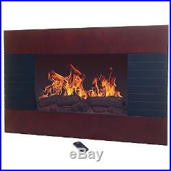 Brown Electric Fireplace with Wall Mount & Remote 35 x 22 Inch 1500W