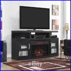 Cantilever Infrared Electric Fireplace Media Cabinet in Embossed Oak