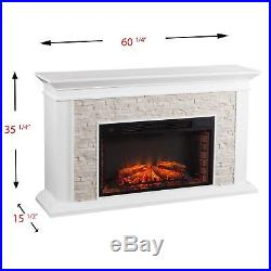 Cfp12909 White Fauxed Stack Stone T. V Console / Electric Fireplace With Remote