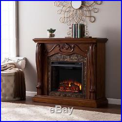 Fine Cfp46969 Walnut Electric Fireplace Mantel With Fauxed Marble Download Free Architecture Designs Griteanizatbritishbridgeorg