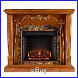 Cfp46969 Walnut Electric Fireplace Mantel With Fauxed Marble Front