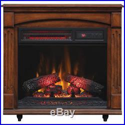 ChimneyFree Electric Infrared Quartz Fireplace with Remote, 5,200 BTU, Cherry