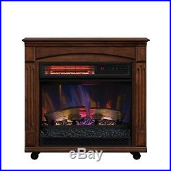 Chimney Electric Fireplace Free Space Heater Rolling Mantel Infrared Quartz New