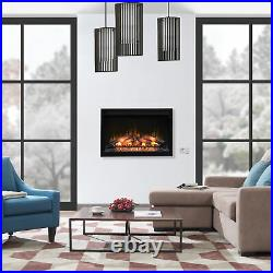 ClassicFlame 36 Inch 240V Built In Electric Fireplace Insert, Black (Open Box)