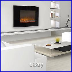Clevr 1500W Heat Adjustable Electric Wall Mount Fireplace Heater Glass 36x22