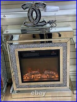 Crushed Diamond Mirrored Fireplace Glass Sparkly Glitter Furniture 70cmx80cmx35c