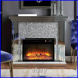 Crushed Diamond Mirrored Fireplace Glass Sparkly Glitter Furniture Venetian
