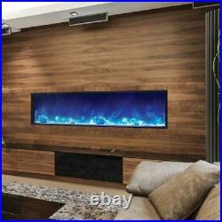 Deep Indoor/Outdoor Electric Fireplace with Black Steel Surround 72