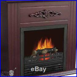 ELECTRIC FIREPLACE HEATER Indoor Living Room TV Stand with 28 Mantle Chestnut