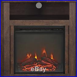 Electric Corner Fireplace TV Stand Brown Media Wood Console Heater Display Cabin
