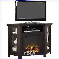 Electric Corner Fireplace TV Stand Espresso Media Wood Console Heater Display Ca