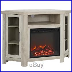 Electric Corner Fireplace TV Stand White Oak Media Wood Console Heater Display