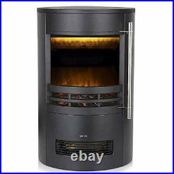 Electric Curved Contemporary Freestanding Stove Fire, 3D Log Burner Flame Effect