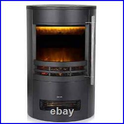 Electric Curved Contemporary Freestanding Stove Fire 3D Log Burner Flame Effect