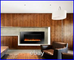 Electric Fire Fireplace Widescreen Flicker Flame Black Glass Wall Mounted Heater