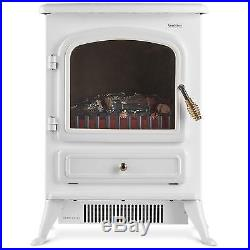 Electric Fire Stove Heater White Log Effect Freestanding Fire Place All Rooms
