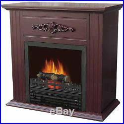 Electric Fireplace 28 Heater Mantle Chestnut Finish Decorative Wood Veneer
