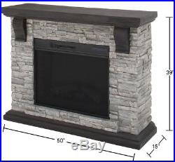 Electric Fireplace 50 in. Adjustable Flicker Media Console TV Stand Stone Gray