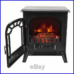 Electric Fireplace Fire Wood Flame Effec Heater Stove Living Room Log Burner Fan
