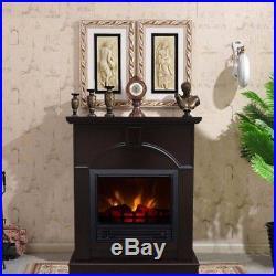 Electric Fireplace Heater Indoor Living Room Bed 26 Mantle Dark Chocolate New