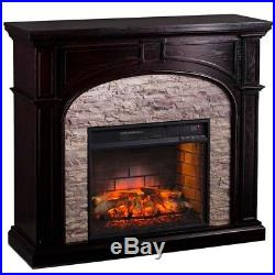 Electric Fireplace Mantle Large Space Heater Remote Control Flame Logs Home Heat
