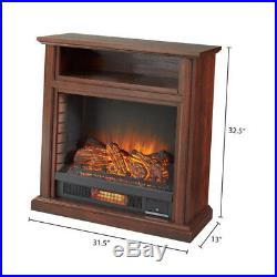 Electric Fireplace Media Console Brown TV Stand Shelf Remote 1000 sq ft Heater