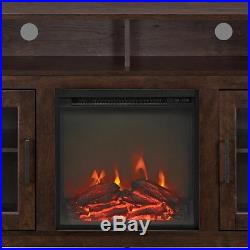 Electric Fireplace TV Stand Brown Wood Media Console Heater Entertainment Center