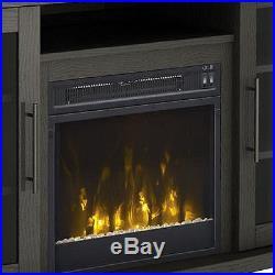 Electric Fireplace TV Stand Dark Oak Media Wood Console Heater Entertainment Cen