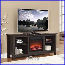 Electric Fireplace TV Stand Flame Media Entertainment Center 4600 BTU 58 Brown