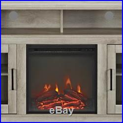 Electric Fireplace TV Stand White Oak Wood Media Console Heater Entertainment Ce
