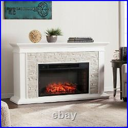 Electric Fireplace With Faux Stone Mantel Free Standing Fireplace Heater White
