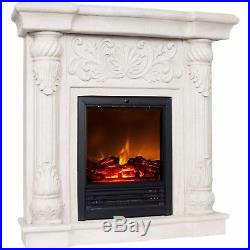 Electric Fireplace w 41 Mantle White Heater w Remote Polyfiber Fully assembled