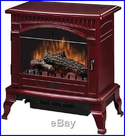 Electric Stove Portable Fireplace Den Cottage Trailer Wood Cranberry Red Finish