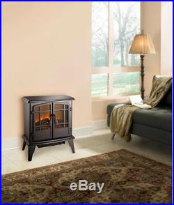 Electric Stove Space Heater 4600 BTU 1350 Watt Fireplace Warmer in Matte Black