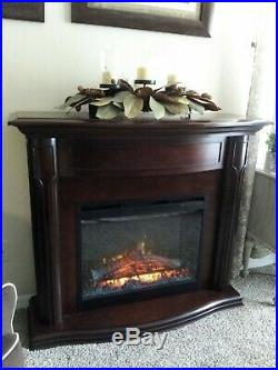 Electric fireplace wood cabinet with remote digital controls