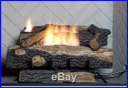Emberglow Oakwood Vent Free Propane Gas Fireplace Logs Thermostat
