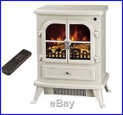 Fab Galleon Fires AGENA Electric Stove with Remote Control Electric Fire Cream