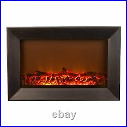Fire Sense Wall-Mounted 30 x 20 Electric Fireplace Black with Remote 61535