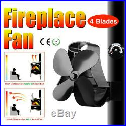 Fireplace 4 Blowers Stove Fan Thermometer for Log Wood Burner Oven Stove Ecofan