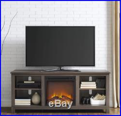 Fireplace Media Console 60'' TV Stand Entertainment Center Logs Gaming Storage