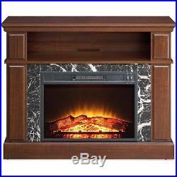 Fireplace TV Stand Console up to 50 Entertainment Shelves Heater Rack Cherry