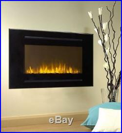 Forte 40 Wall Inset Design Wall Mounted Electric Fireplace Black