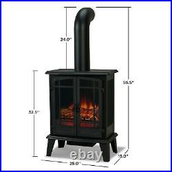 Foster Electric Stove Fireplace Real Flame Heater Black