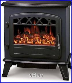 Galleon Fires CASTOR Electric Stove Heater with Log Flame Effect Fire Black