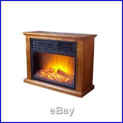 Hampton Bay Cedarstone 29 in. 3-Element Mantel Infrared Electric Fireplace Oak