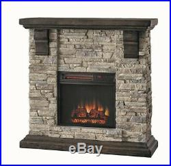 Highland 40 in. Media Console Electric Fireplace TV Stand in Faux Stone Gray